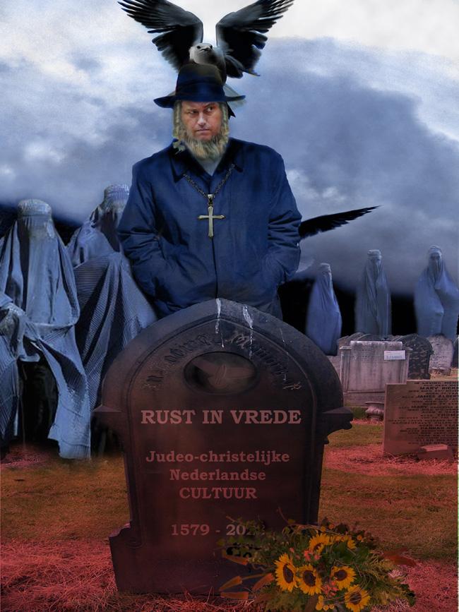 Geert Wilders bij het graf van de Judeo-christelijke Nederlandse cultuur