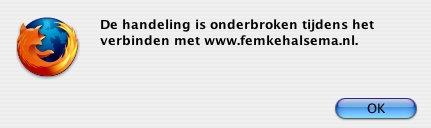 De handeling is onderbroken tijdens het verbinden met www.femkehalsema.nl