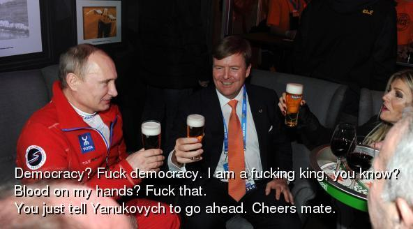 Democratie? Schijt aan de democratie. Een koning heeft met democratie helemaal niets te maken