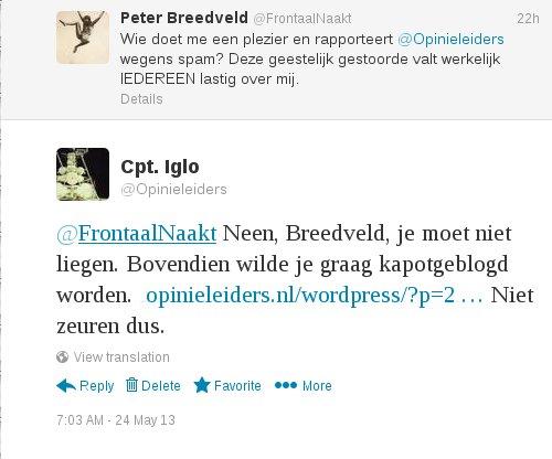 Captain Iglo wijst Peter Breedveld erop dat Peter Breedveld niet moet liegen