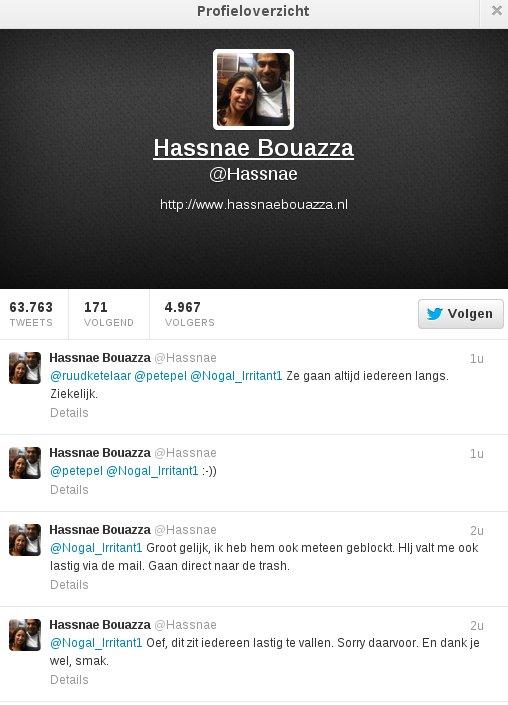 Hassnae Bouazza houdt niet van lastige vragen en daarom blokkeert ze twitteraars en gooit ze haar mail ongelezen weg