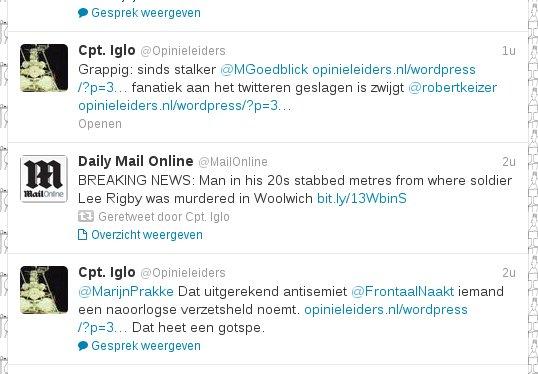 Stalker Max Goedblick is een idioot